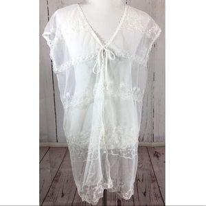 Vintage Victoria's Secret White Mesh Lace Teddy